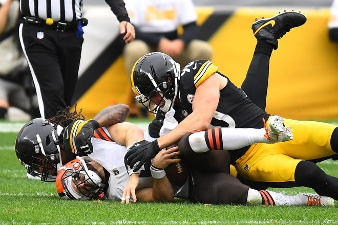 Baker Mayfield #6 of the Cleveland Browns is sacked by Bud Dupree #48 of the Pittsburgh Steelers during their NFL game at Heinz Field on October 18, 2020 in Pittsburgh, Pennsylvania.