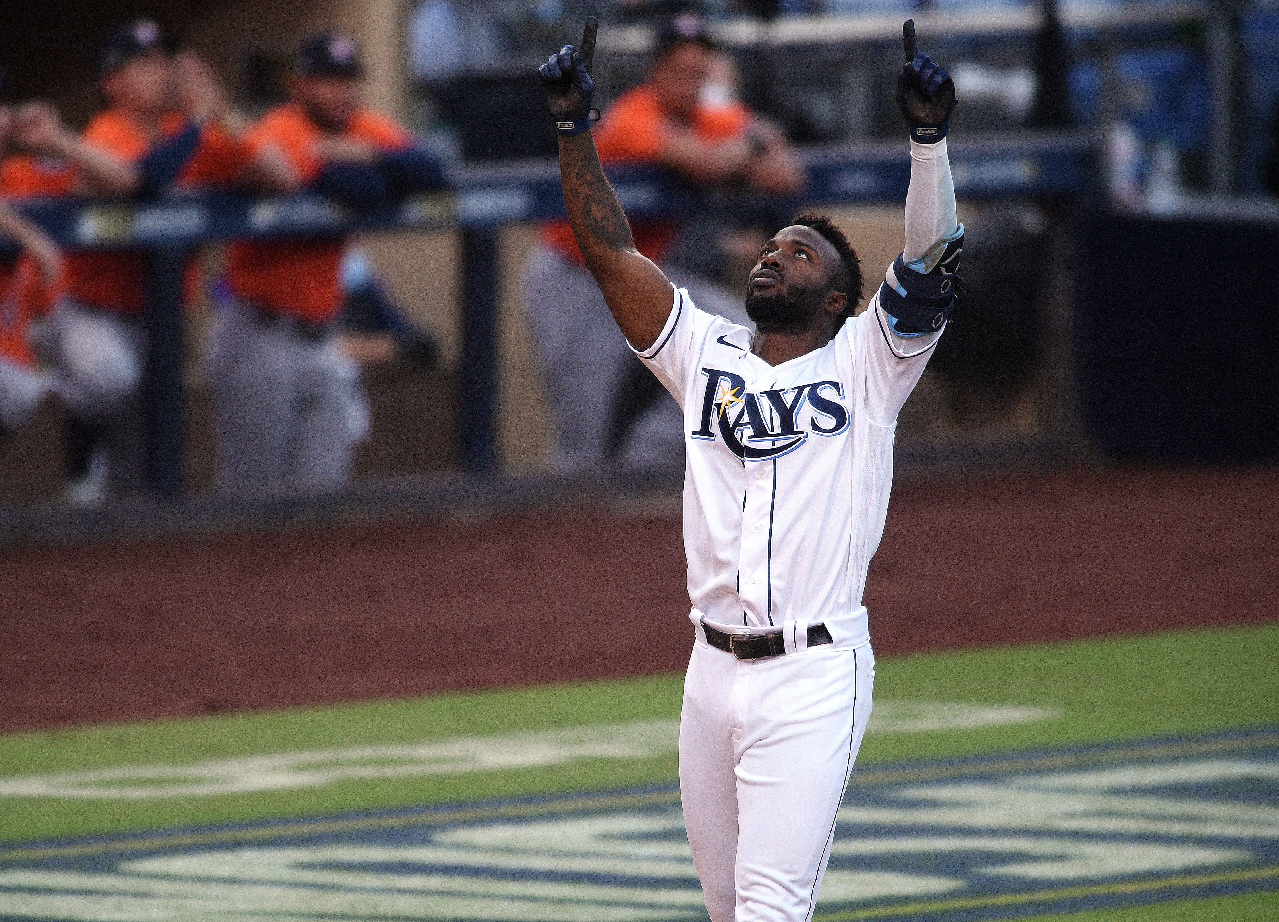 rays randy arozarena sets rookie record for most postseason homers randy arozarena sets rookie record