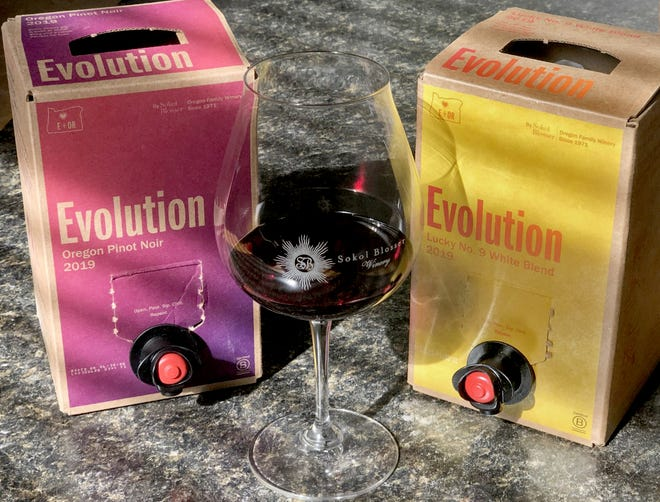 Evolution boxed wine from Sokol Blosser is Oregon's first boxed wine on Thursday, Oct. 15, 2020 in Cuyahoga Falls, Ohio. [Phil Masturzo/ Beacon Journal]