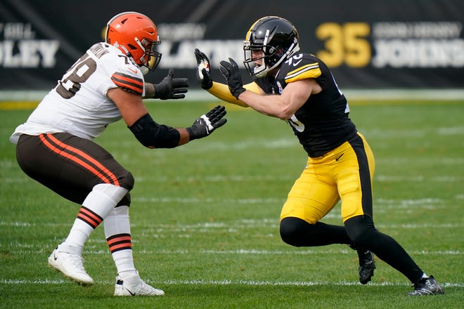 Pittsburgh Steelers outside linebacker T.J. Watt (90) in action against Cleveland Browns offensive tackle Jack Conklin (78) during an NFL football game, Sunday, Oct. 18, 2020, in Pittsburgh. (AP Photo/Justin Berl)