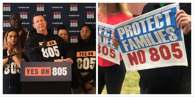 Left: Kris Steele, founder of Oklahomans for Criminal Justice Reform, speaks at a rally in support of State Question 805. Right: Signs opposing the measure are held by members of Oklahomans United Against 805.