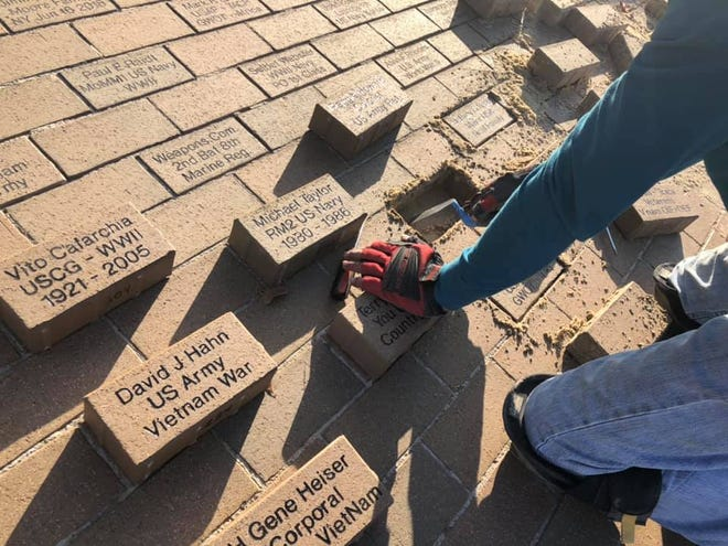 On Monday, contractors were laying personalized memorial bricks at the Bluffton Veterans Memorial. Bricks are still available for purchase through American Legion Auxiliary Unit 205.
