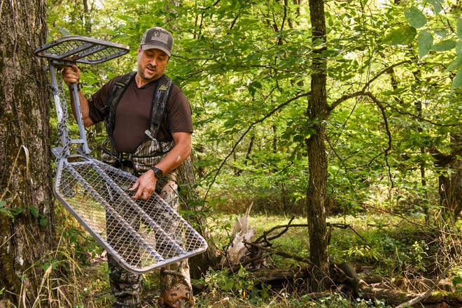 Tim Peters suffered a severe spine injury when he fell from a tree stand in 2019. After surgeries at MU Health Care's Comprehensive Spine Center, he is able to hunt again. Peters encourages people to always wear a safety harness when hunting from a tree stand. -