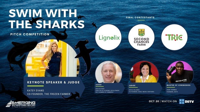 """The """"Shark Tank""""-style television premiere of the Emerging Enterprise Center's eighth annual Swim with the Sharks pitch competition will air at 7:30 p.m. Oct. 20 on DETV Comcast Channel 28 and 190 and will be simultaneously broadcast on the EEC Facebook page."""