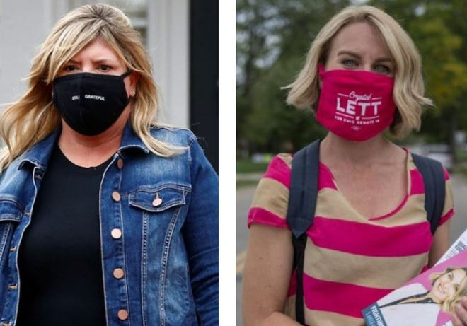 GOP state Sen. Stephanie Kunze, left, and her Democratic challenger Crystal Lett are both campaigning door-to-door in the competitive 16th Ohio Senate District in western Franklin County.