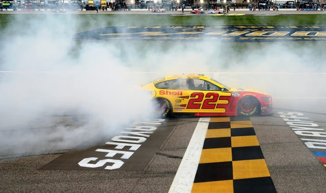 Joey Logano had to wait 224 days between NASCAR victory burnouts in his No. 22 Ford.