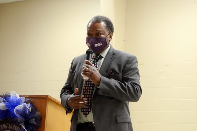 Donaldsonville Mayor Leroy Sullivan speaks during the Donaldsonville Area Chamber of Commerce's 2020 election forum at the Lemann Memorial Center Oct. 14. Sullivan was the only mayoral candidate to attend.