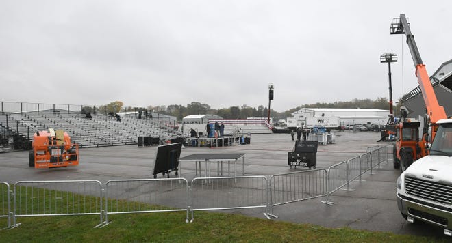 A stage and seating area for President Donald Trump's campaign rally were being set up Monday near a North Coast Air plane hangar adjacent to West 12th Street, on the tarmac near the northwest corner of the Erie International Airport in Millcreek Township. Trump's rally is scheduled for 7 p.m. Tuesday.