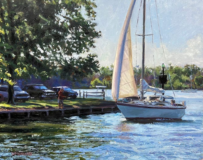 """Marina Lake Inlet"" is an oil painting on canvas by D.P. Warner being shown at Glass Growers Gallery, 10 E. Fifth St., in Erie through Nov. 17.  The show is all oil paintings by Warner."