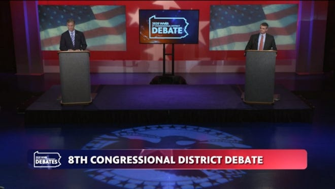Speaking from 12 feet apart, U.S. Rep. Matt Cartwright, a Democrat from Moosic, and Jim Bognet, Republican candidate from Hazleton, debated COVID-19 relief, President Donald Trump's handling of the pandemic and more on Sunday, Oct. 18, 2020.