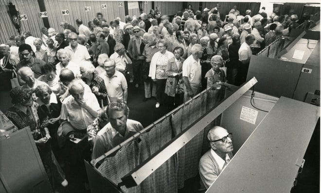 Undated photo, likely from the 1970s, of Century Village residents lining up to vote.