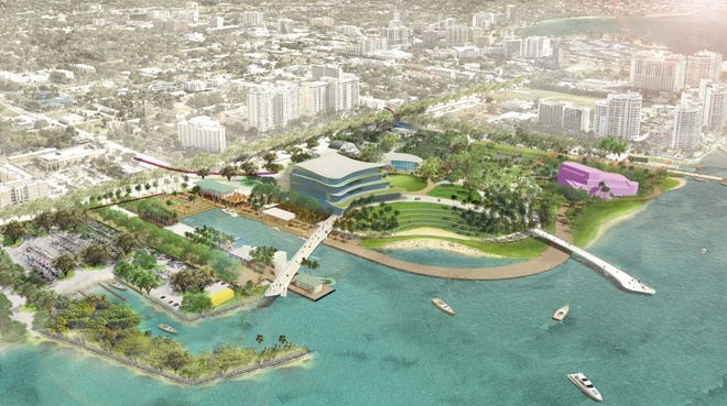 An artist's rendering of the the Bay project, a plan to turn 53 acres of downtown waterfront into an urban oasis. The city of Sarasota put the final financial stamp of approval on Monday.