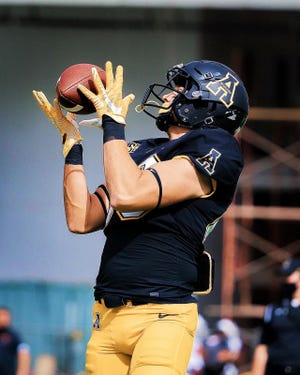 Former Sarasota Sailor star August Drews catches a pass in practice for Appalachian State University.