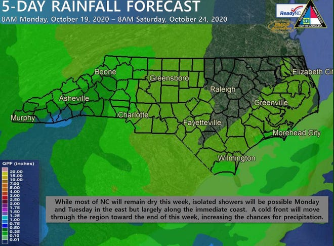 Rainfall will be hard to find in North Carolina until the arrival of a front late in the week.
