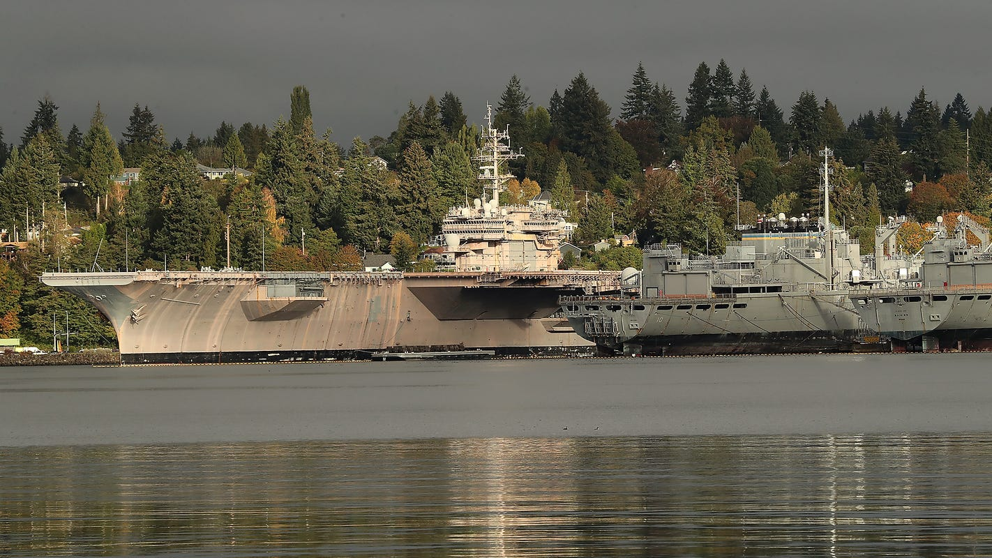 Former Kitty Hawk aircraft carrier leaves dry dock in Bremerton