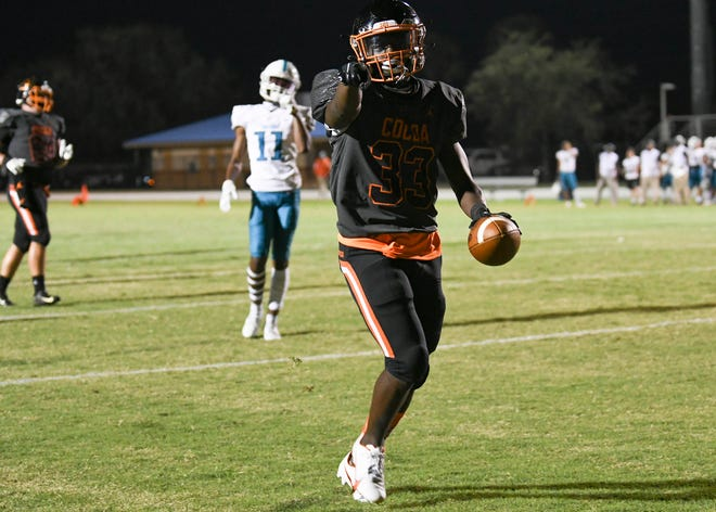 Rontavious Farmer of Cocoa scores a touchdown during the game against Bayside Friday, Oct. 16, 2020. Craig Bailey/FLORIDA TODAY via USA TODAY NETWORK
