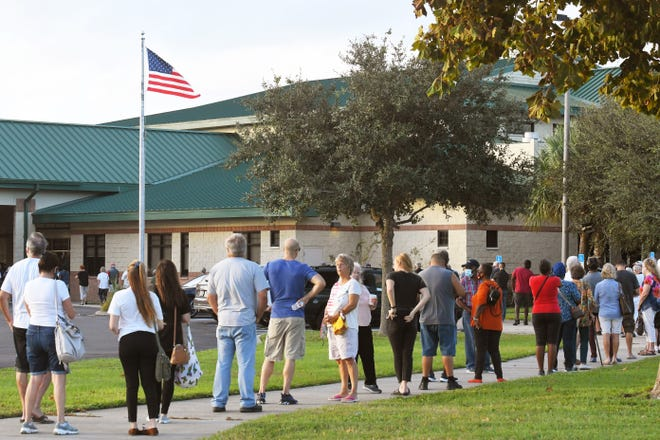 Lines on Monday morning at Viera Regional Park Community Center on the first day of early voting, which is available 7 days a weeks October 19 until Oct. 31 at 10 voting sites in Brevard County.