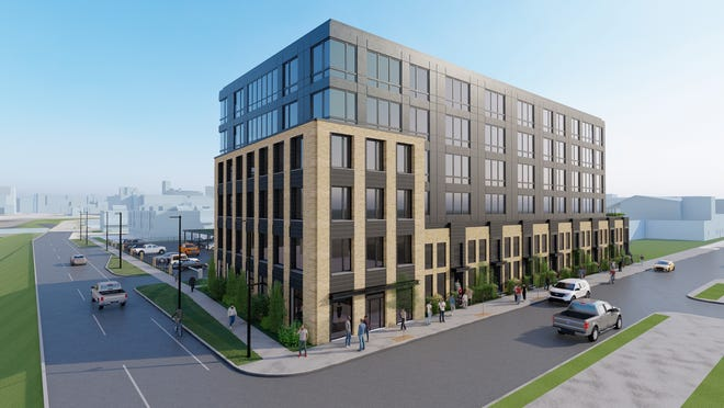 A rendering of Left Field apartments on the former Tiger Stadium site in Corktown, which aims to include 48 of 60 units set aside as affordable housing between 30% to 80% AMI.