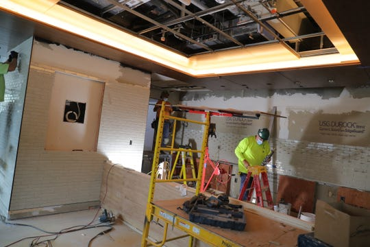 Construction crews continue work on the interior the Ford House Visitor Center in Grosse Pointe Shores on Monday, Oct. 19, 2020. W