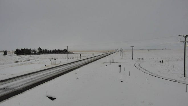 Icy conditions on U.S. Highway 87 east of Geyser on Monday morning.