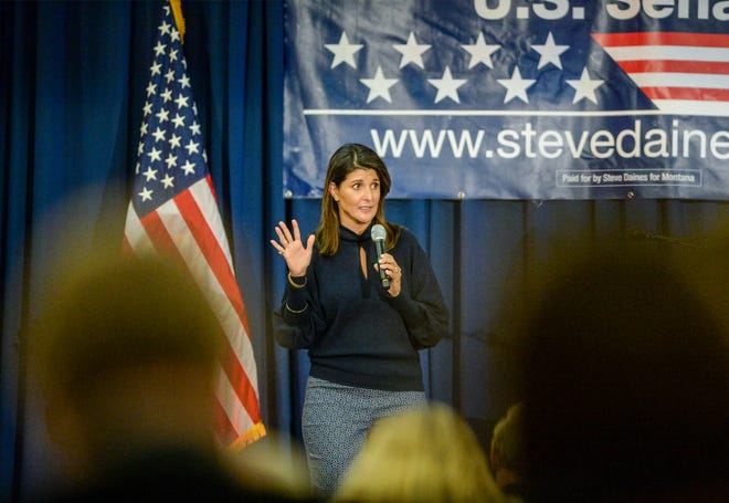 Nikki Haley, former US ambassador to the United Nations, visits Great Falls to endorse Sen. Steve Daines for Senate on Monday at the Hilton Garden Inn.