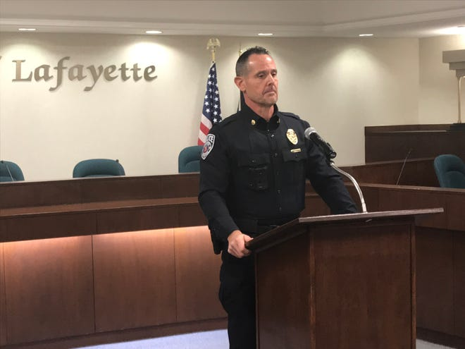 Lafayette police Deputy Chief Brad Bishops answers questions Monday, Oct. 19, 2020, about how a neo Nazi slipped detection before being hired as a Lafayette police officer.