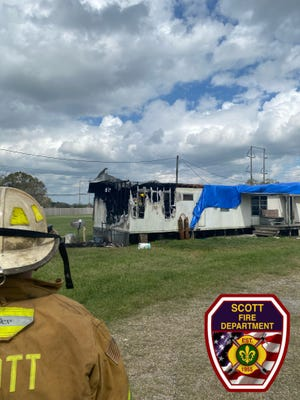 The Scott Fire Department responded to a fire at a home in the 100 block of Dassas Street on Oct. 18, 2020.