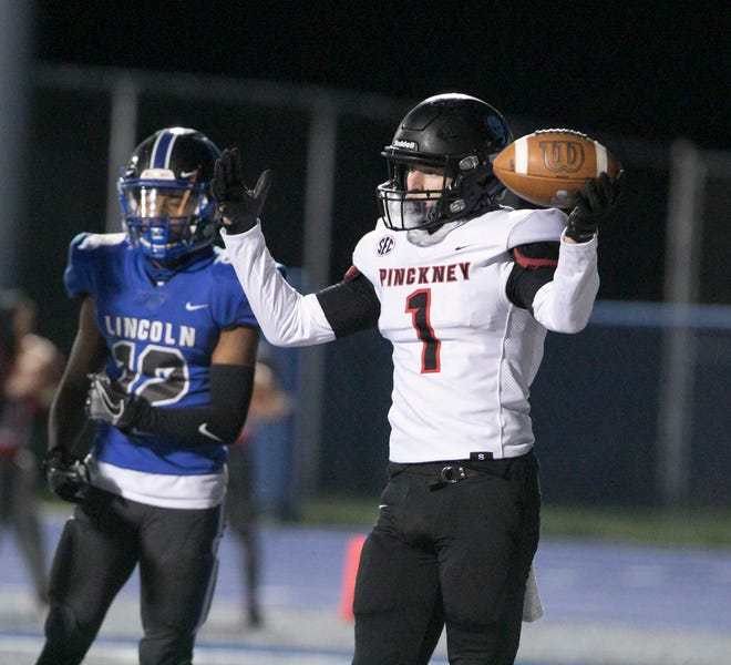 Pinckney's Jack Trachet, who has committed to Hillsdale College, excelled as a wide receiver and free safety.