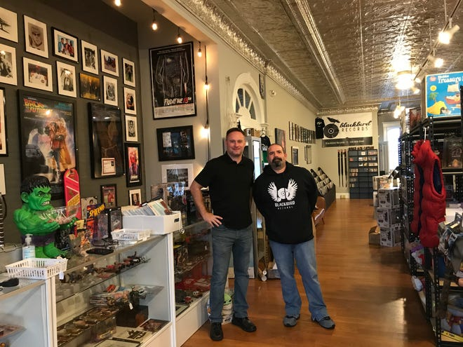 Josh Lehman, left, owner of Operation: Fandom and Blackbird Records, 31 E. Fourth St., and Bob Ferguson, store manager, are ready for a grand opening weekend at the end of the month at the new collectible toys, pop-culture merchandise and record store. A ribbon-cutting is set for 4 p.m. Oct. 29.