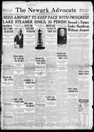The front page of the Oct. 31, 1929 Advocate. The state director of aeronautics visited Newark, telling the community an airport was a vital investment for a progressive community.