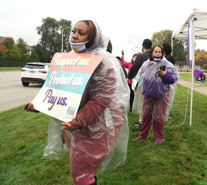 Certified Nursing Assistant Robbie Cheree talks about hitting the picket line outside Livonia's Four Seasons on Oct. 19, 2020.
