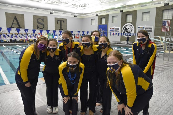 Meghan Bandy,  Katy Luce, Kendra Ebel, Alison Newberry, Melanie Hesterman, Sabrina Oliveira, Emma Plater, Sommer Kotch and Emily Sherry are the South Lyon swim and diving team's seniors.