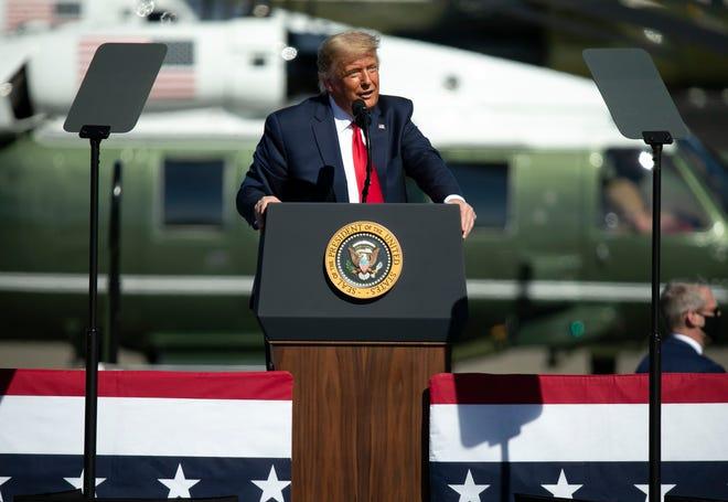 President Donald Trump speaks at a rally at Prescott Regional Airport in Prescott, Ariz., on Oct. 19, 2020.