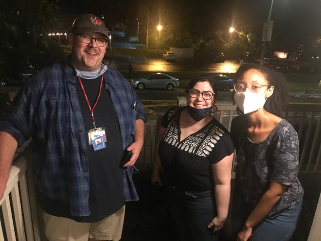 Report for America journalists Natalia Rodríguez Medina, center, and Adria Walker, right, pose with D&C public safety reporter Will Cleveland at about 1:30 a.m. on Friday, Sept. 4,. Rodríguez Medina and Walker had spent more than seven hours covering what was Rochester's second protest over the death of Daniel Prude. The D&C is seeking the public's donations to help cover the pay of these two RFA journalists whose role is to cover under-served communities in and around Rochester.