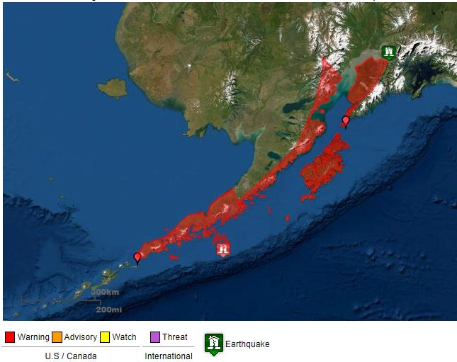 An earthquake off Sand Point, Alaska prompted a tsunami warning for surrounding coastlines. It was found to not be a tsunami threat to Oregon.