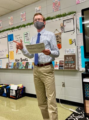 U.S. Rep. Dusty Johnson spent his day substitute teaching in Mitchell Monday, Oct. 19, 2020.