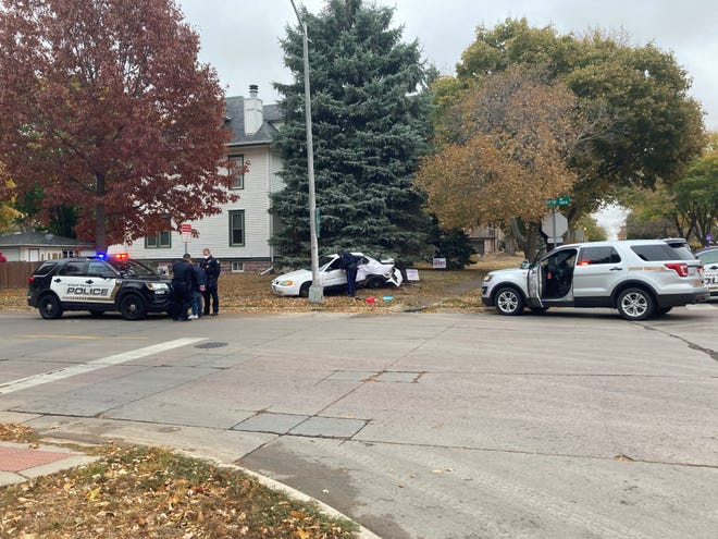 A car crashed at Sixth Street and Prairie Avenue after a brief pursuit with Police and Highway Patrol on Monday in Sioux Falls.