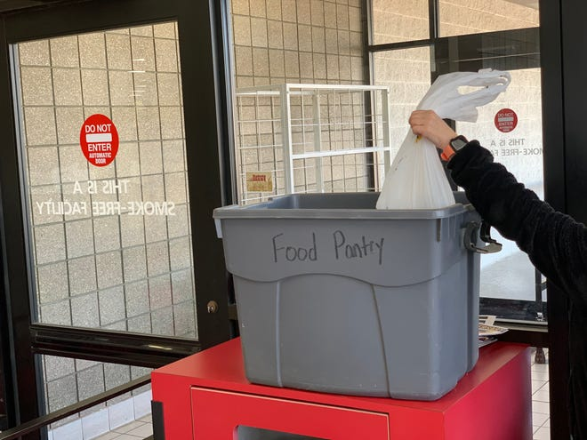 Food pantry totes are available for drop off at the exits of Sunshine Foods in Brandon.
