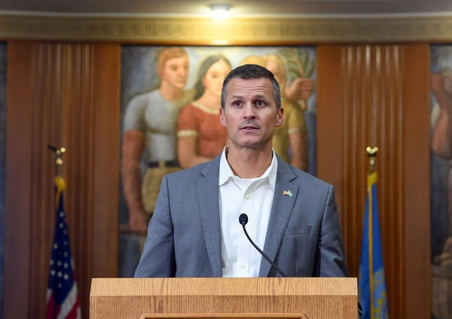 Mayor Paul TenHaken holds a press conference regarding the coronavirus pandemic on Monday, October 19, at City Hall in Sioux Falls.