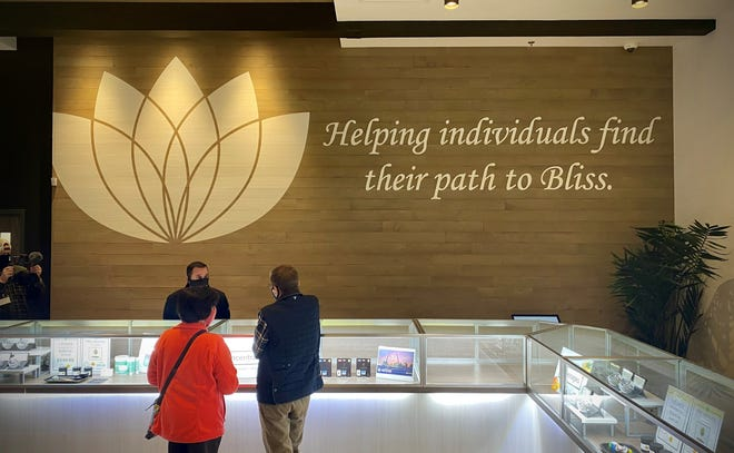 Missouri medical cannabis patients at an N'Bliss Cannabis dispensary in suburban St. Louis on the first day of legal sales, Oct. 17, 2020.