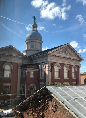 The view of the Augusta County Courthouse from inside Kimberly West's home on 17-19 Barristers Row in Staunton on Sunday, Oct. 18, 2020.