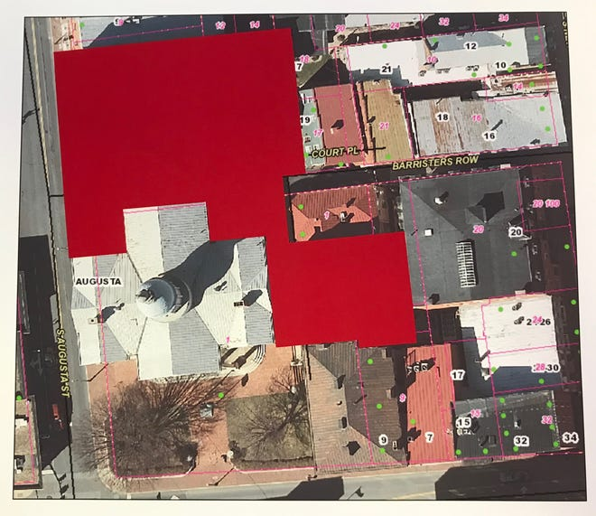 Augusta County's courthouse expansion proposal includes the demolition of eight historic buildings and elimination of the public spaces indicated in red. The endangered buildings include: 11 S. Augusta St., 1, 5, 7, 9 and 11 Court Pl., 5 and 7 Lawyers Row. Endangered as well are the historic public streets Barristers Row and Lawyers Row, located between New Street to the east and Augusta Street to the west. The Mevluda Tahirovic Memorial Garden, located behind the R.R. Smith Center for History and Art, would likely be destroyed by construction. These historic buildings and streets comprise one of the oldest areas of Staunton, annexed in 1786.