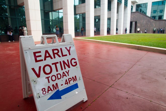 Leon County residents lined up bright and early to cast their ballots on the first day of early voting at the Leon County Courthouse Monday, Oct. 19, 2020.