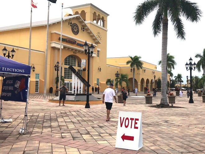 Early voting began Monday, Oct. 19, 2020 in St. Lucie County. Voters lined up at the MidFlorida Event Center beginning at 8 a.m. to vote.