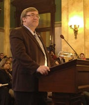 Ohio Health Director appointee Rick Hodges at his confirmation hearing Nov 12, 2014, in Columbus.
