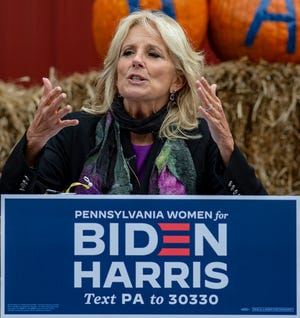 Jill Biden speaks at the Women's GOTV event at the SnIpes Farm and Education Center in Morrisville, Pa. on Monday, Oct. 19, 2020.