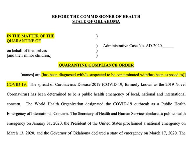 The quarantine order template for the Oklahoma State Department of Health, highlighted for emphasis.