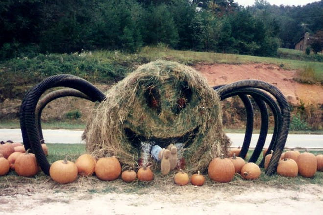 """A pumpkin patch in North Carolina shows a giant """"hay spider"""" devouring an intruder."""