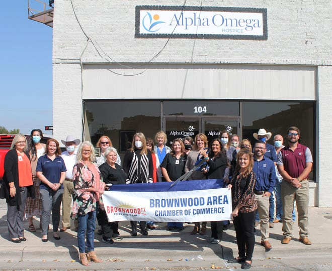 Ribbon Cutting for Alpha Omega  The Brownwood Area Chamber of Commerce held a ribbon cutting for Alpha Omega Hospice,  104 S. Broadway in Brownwood. Alpha Omega Hospice is a ministry of care and compassion for those facing the final stages of an illness. For more information about services, call (325) 513-2052. Pictured with Brownwood Chamber Ambassadors are Alpha Omega staff.