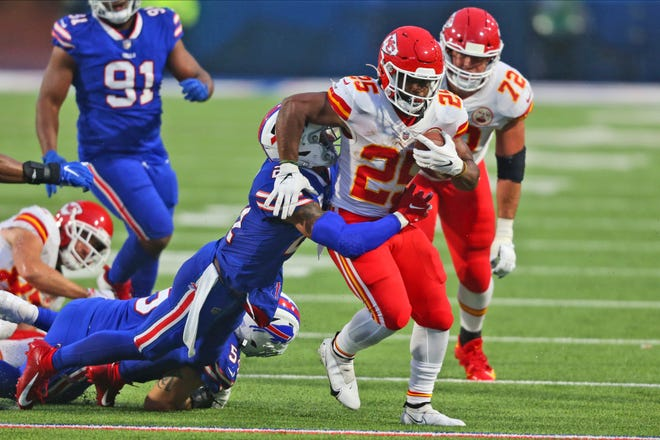 Kansas City Chiefs running back Clyde Edwards-Helaire (25) runs the ball during a game against the Buffalo Bills on Monday in Orchard Park, N.Y.